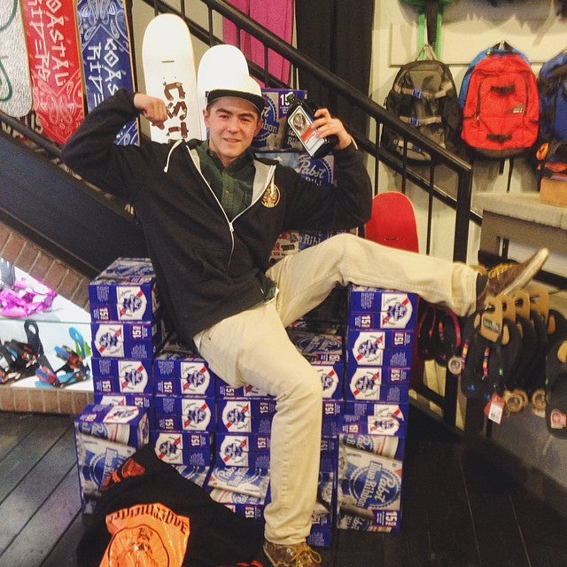coastal team rider @t_a_c_0 perched on the @pabstblueribbon kingofthecan victory throne in shop. congrats to all the team riders on this big win!