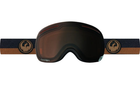 DRAGON X1 FLUX BROWN TRANSITION AMBER LENS SNOW GOGGLES 2017