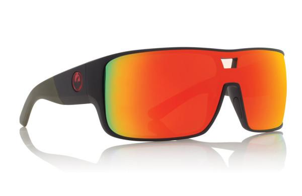 DRAGON HEX MATTE UTILITY GREEN FRAME WITH RED ION LENS SUNGLASSES