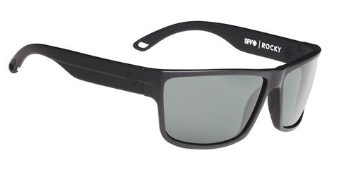 SPY ROCKY MATTE BLACK FRAME WITH HAPPY GREY GREEN POLARIZED LENS SUNGLASSES