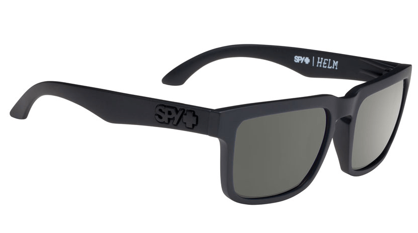 SPY HELM SOFT MATTE BLACK FRAME WITH HAPPY GREY GREEN POLARIZED LENS SUNGLASSES