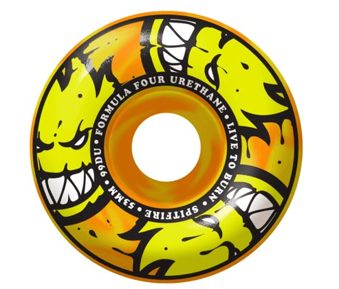 SPITFIRE AFTERBURNERS ORANGE/YELLOW SWIRL CLASSIC WHEELS 52MM