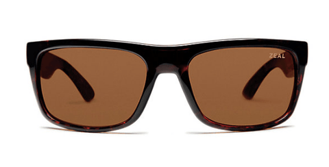 ZEAL ESSENTIAL SHINY DEMI TORTOISE FRAME WITH ELLUME COPPER POLARIZED LENS SUNGLASSES