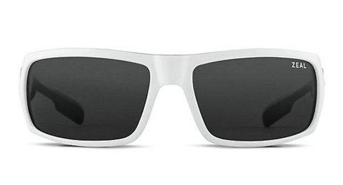 ZEAL SNAPSHOT WHITE GLOSS FRAME WITH ELLUME DARK GREY POLARIZED LENS SUNGLASSES
