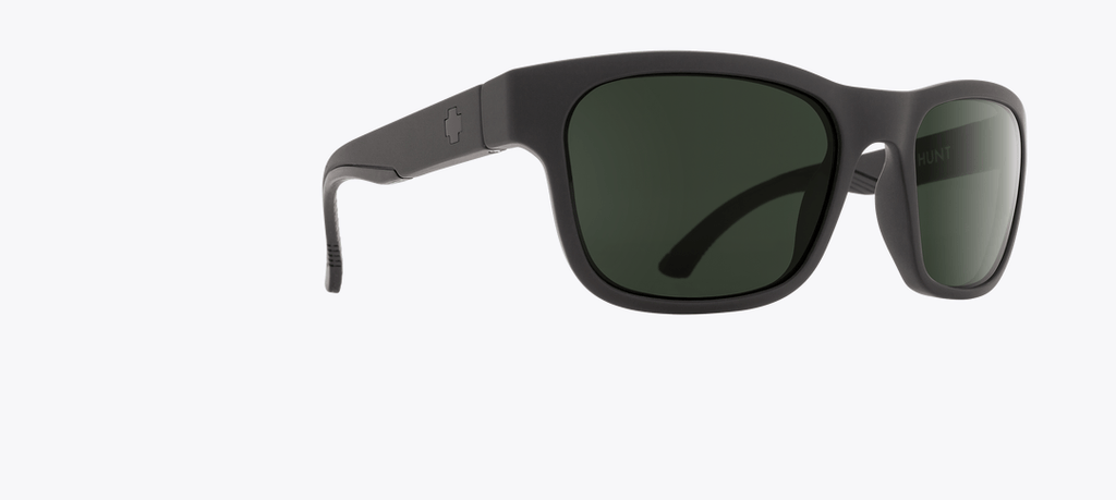 SPY HUNT MATTE BLACK FRAME WITH HAPPY GREY GREEN POLARIZED LENS SUNGLASSES