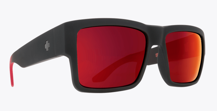 SPY CYRUS SOFT MATTE BLACK RED FADE FRAME WITH HAPPY GRAY GREEN/RED FLASH SUNGLASSES