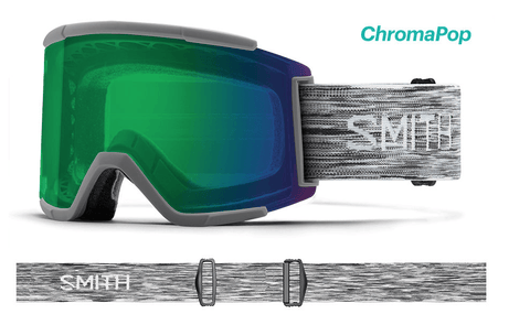 SMITH SQUAD XL CLOUDGREY FRAME WITH CHROMAPOP EVERYDAY GREEN MIRROR+CHROMAPOP STORM YELLOW FLASH LENS SNOW GOGGLES 2019