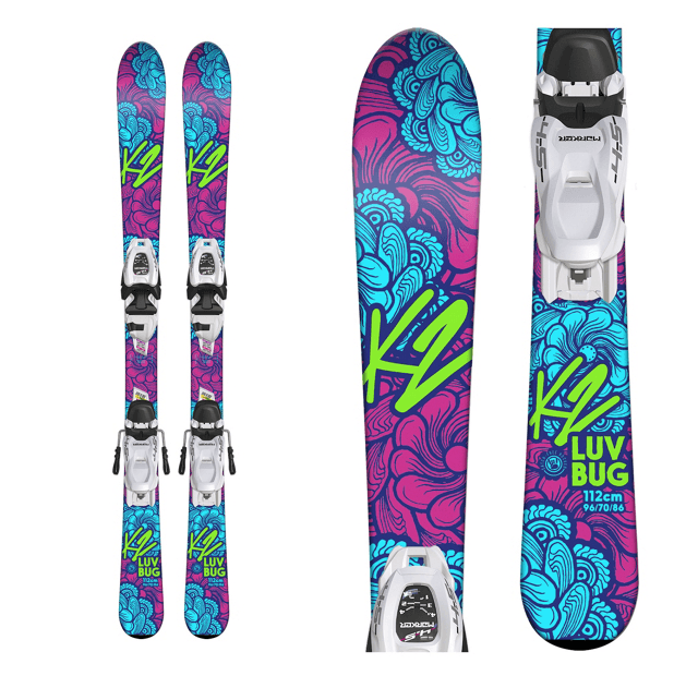 K2 GIRLS LUV BUG SKIS + MARKER FDT 7.0 SKI BINDINGS 2019