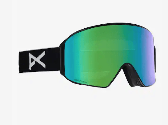 ANON M4 CYLINDRICAL BLACK FRAME WITH SONAR GREEN BY ZEISS+SONAR BLUE LENS SNOW GOGGLES 2019 MFI FACE MASK INCLUDED