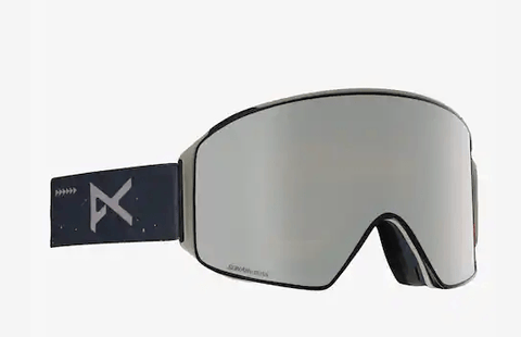 ANON M4 CYLINDRICAL RUSH FRAME WITH SONAR SILVER BY ZEISS+SONAR INFRARED BLUE LENS SNOW GOGGLES 2019 MFI FACE MASK INCLUDED