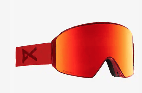 ANON M4 CYLINDRICAL RED FRAME WITH SONAR RED BY ZEISS+SONAR INFRARED LENS SNOW GOGGLES 2019 MFI FACE MASK INCLUDED