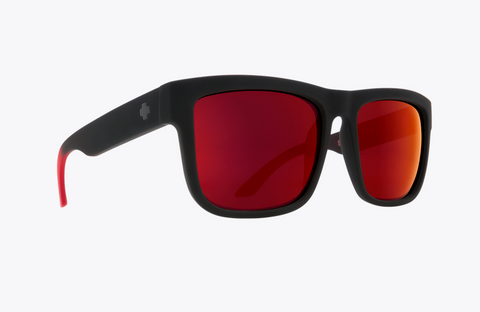 SPY DISCORD SOFT MATTE BLACK RED FADE FRAME WITH HAPPY GRAY GREEN RED FLASH LENS SUNGLASSES