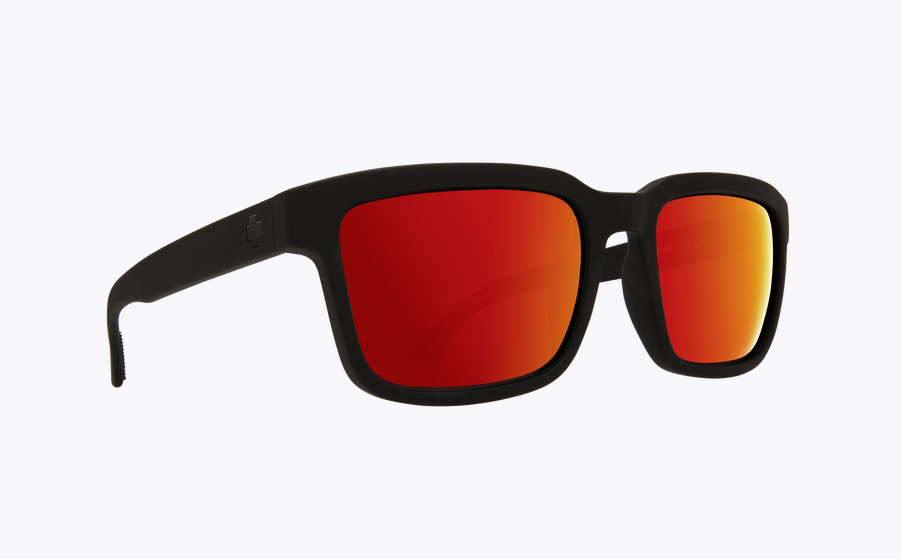 SPY HELM 2 SOFT MATTE BLACK FRAME WITH HAPPY GREY GREEN/RED SPECTRA LENS SUNGLASSES