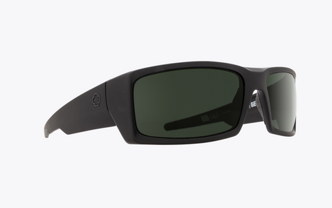 SPY GENERAL SOFT MATTE BLACK FRAME WITH HAPPY GRAY GREEN LENS SUNGLASSES