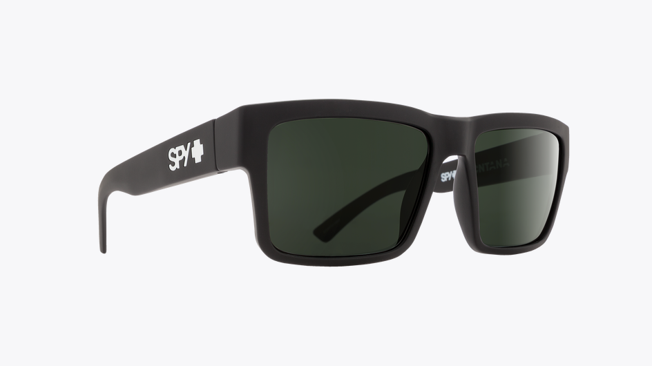SPY MONTANA SOFT MATTE BLACK FRAME WITH HAPPY GRAY GREEN LENS SUNGLASSES