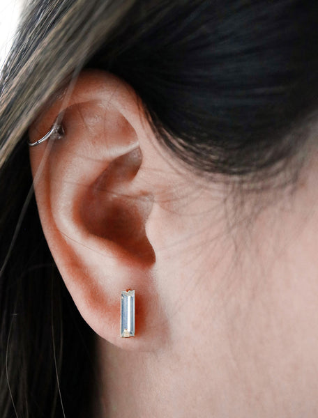 clear baguette crystal studs, modelled on the ear