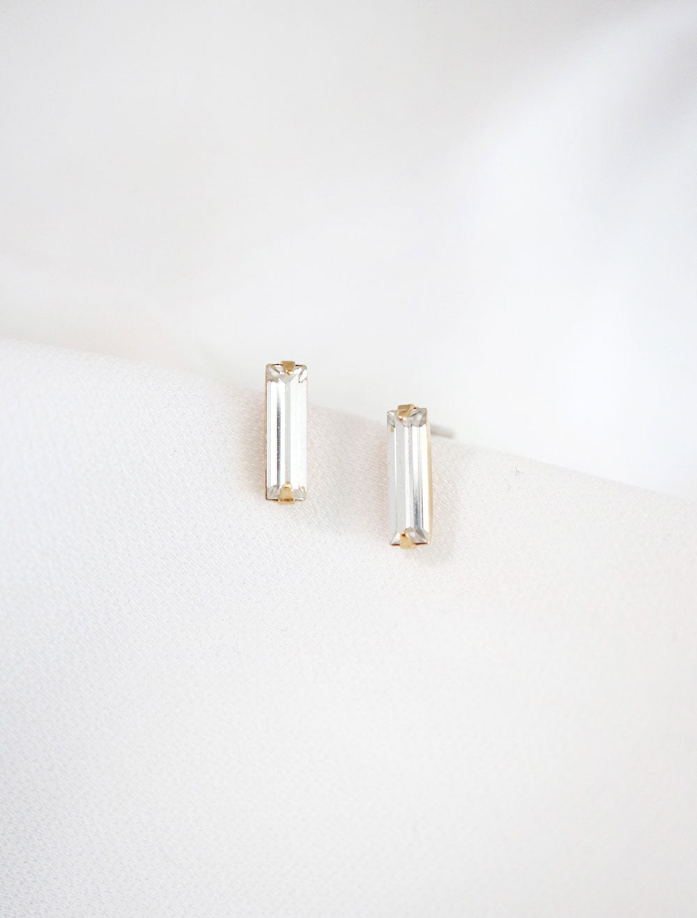 clear baguette crystal stud earrings