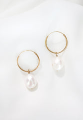gold filled baroque pearl earrings