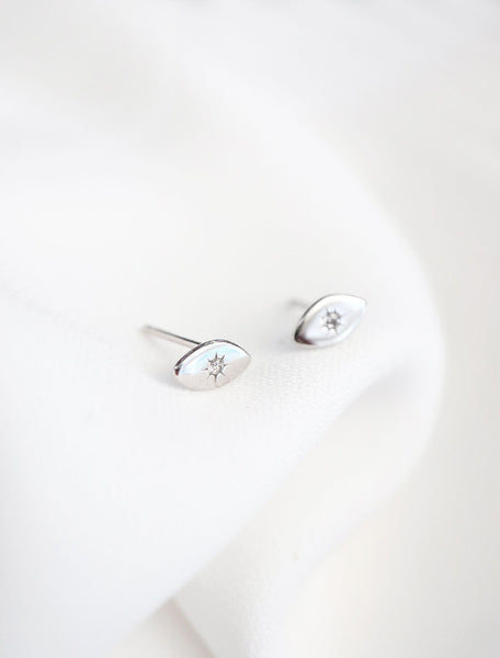 tiny evil eye earrings