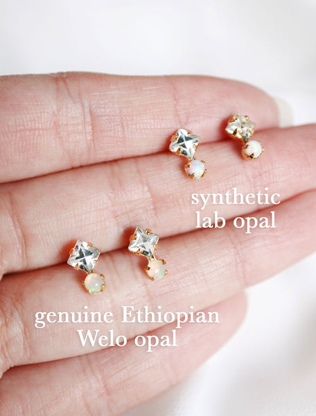 genuine Ethiopian Welo opal stud earrings and synthetic lab opal stud earrings