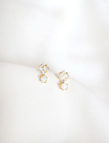 tiny crystal and opal earrings