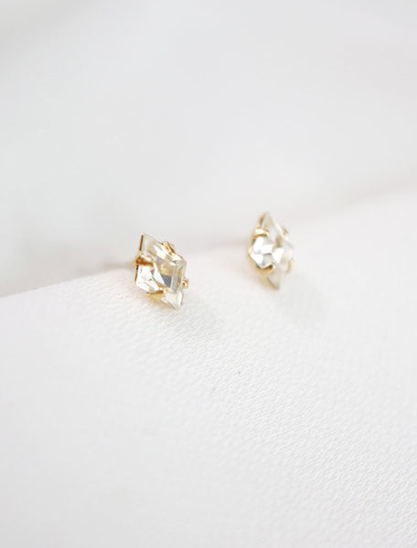 gold filled crystal diamond studs side view