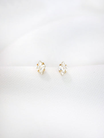 tiny diamond crystal stud earrings