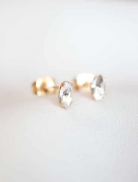micro marquis stud earrings close up