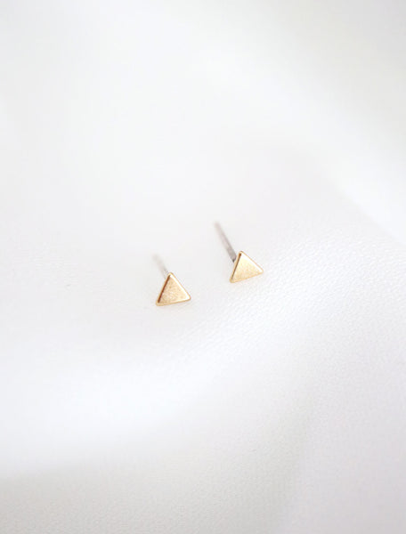 tiny gold filled triangle studs