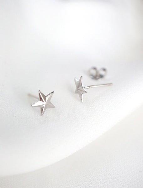 sterling silver star stud earrings side view