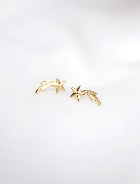 gold filled shooting star stud earrings