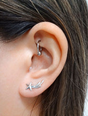 silver shooting star ear climbers modelled