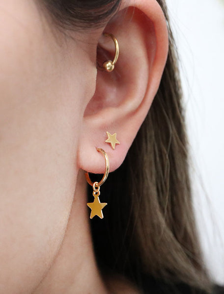 gold vermeil star charm hoops modelled