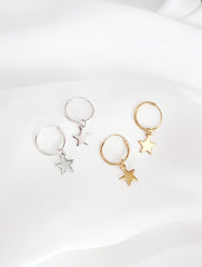 silver and gold star charm hoop huggies