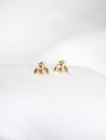 tiny gold filled bee earrings