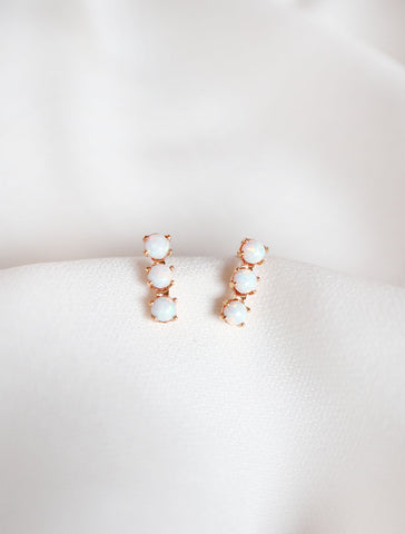 triple opal bar stud earrings