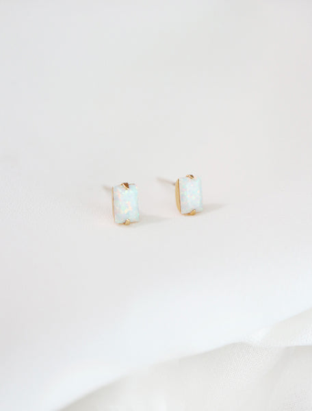 white opal baguette studs side view