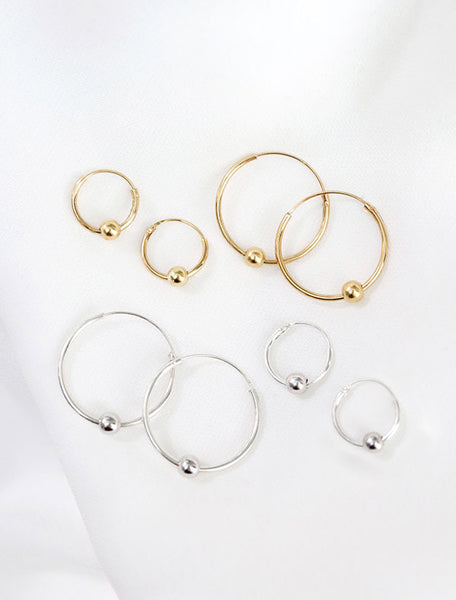 vermeil & sterling silver beaded hoop earrings