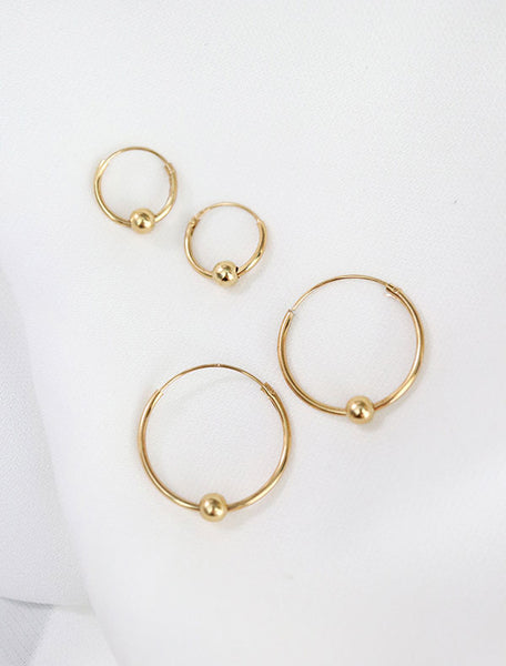 small & large gold vermeil beaded hoop earrings