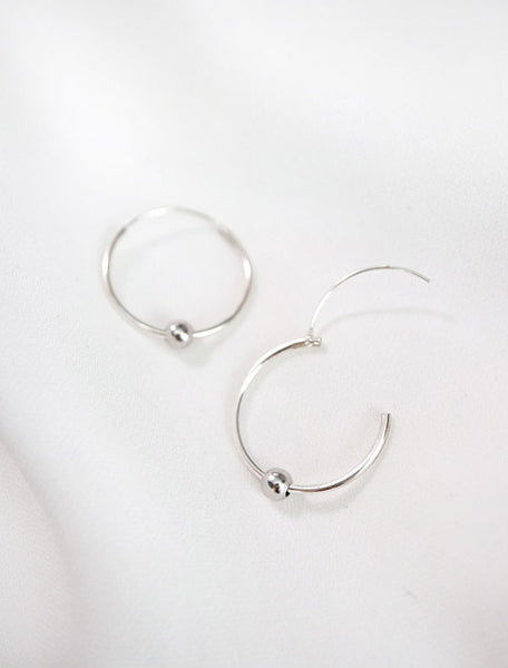 sterling silver beaded hoop earrings with hinge