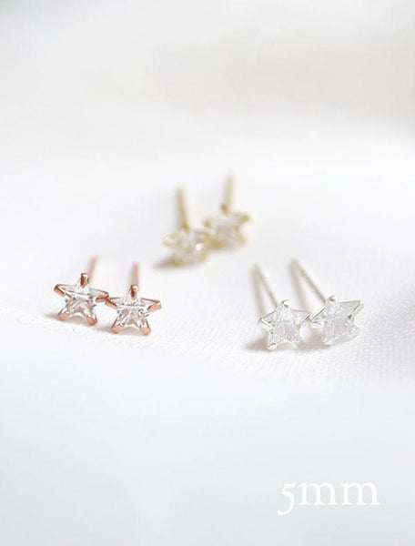 little (5mm) crystal star stud earrings in rose gold, gold, sterling silver