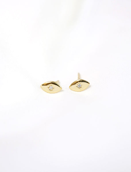 gold vermeil evil eye stud earrings