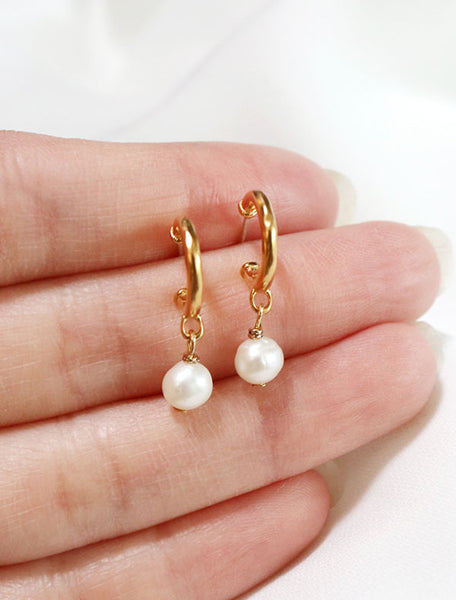 gold vermeil pearl charm hoops in hand