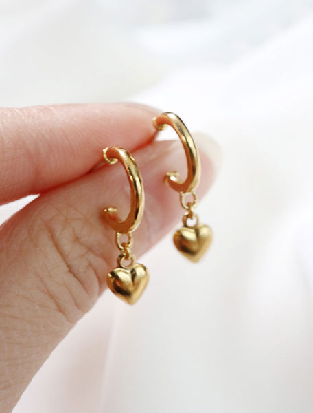 puffy heart hoop earrings