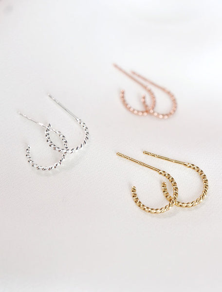 sterling silver, rose gold vermeil and yellow gold vermeil twisted hoop earrings