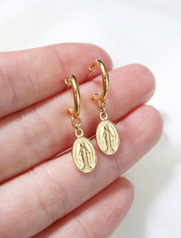 gold vermeil virgin mary hoops in hand