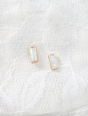tiny opal baguette earrings, 14k gold filled