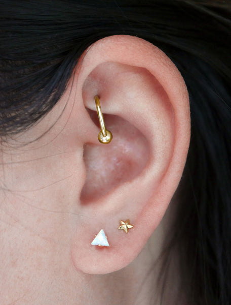 micro opal triangle earrings