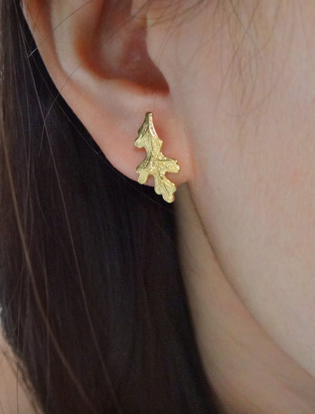 oak leaf earrings . long