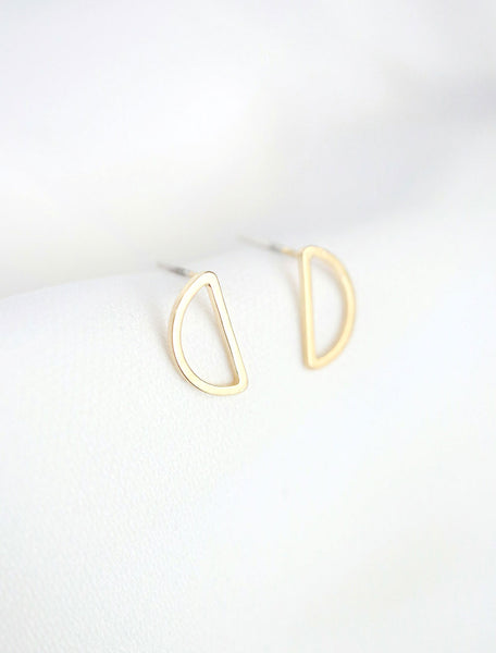 gold filled open half moon earrings